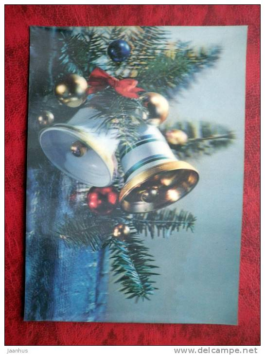 Japan - 3D - stereo - New Year - Christmas Bells - sent in Finland - nice stamp! - used - JH Postcards