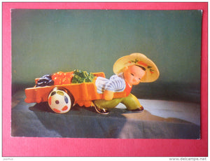 love of manual labour - trolley - China - circulated in Finland - JH Postcards