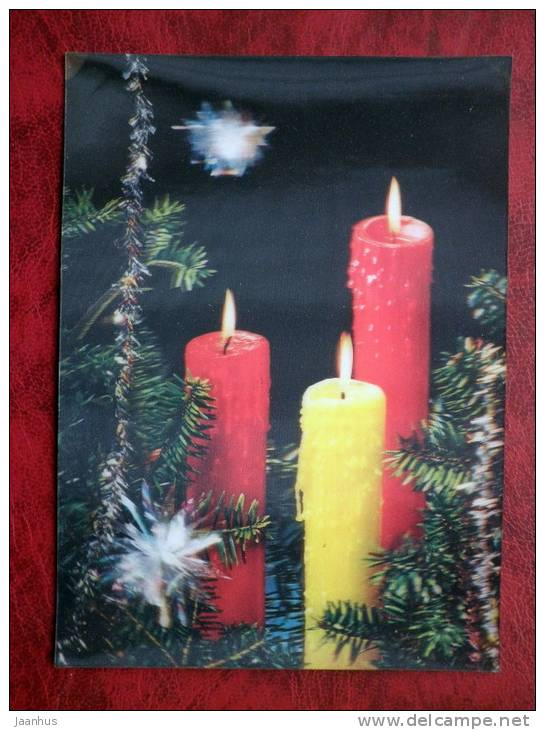 Japan - 3D - stereo - New Year - Christmas - candles - sent in Finland, Porvoo - 1973 - nice stamp! - used - JH Postcards