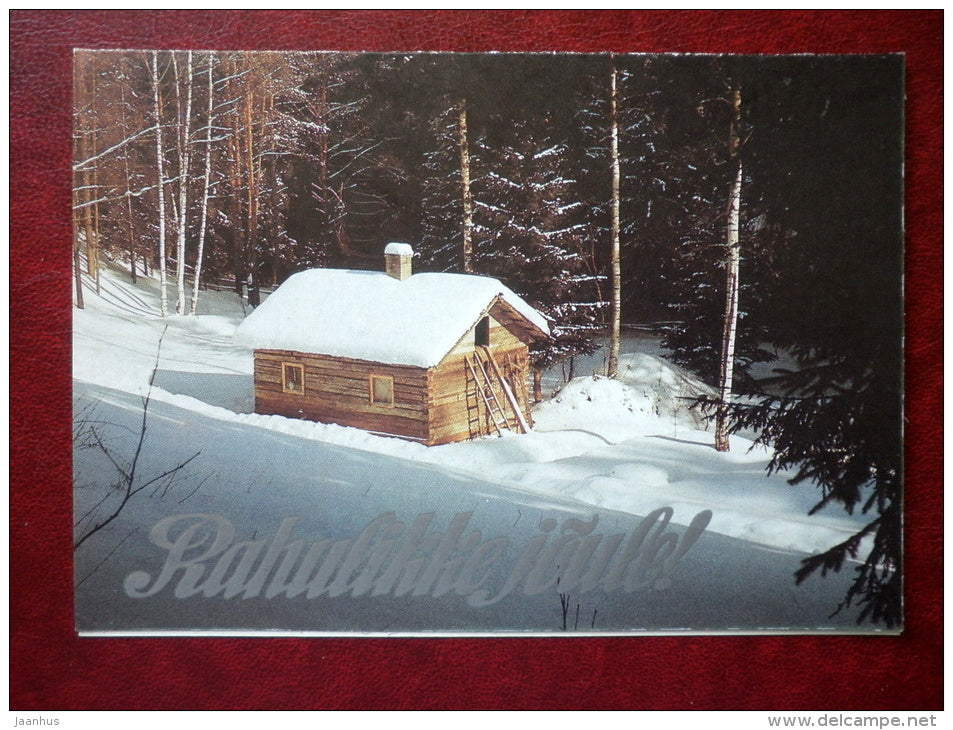 New Year and Christmas Greeting card - winter hut - 1989 - Estonia USSR - used - JH Postcards