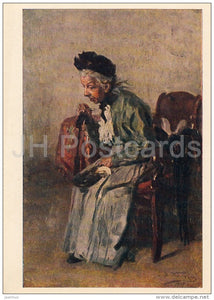 painting by V. Makovsky - Petitioner , 1917 - old woman - Russian art - 1962 - Russia USSR - unused - JH Postcards