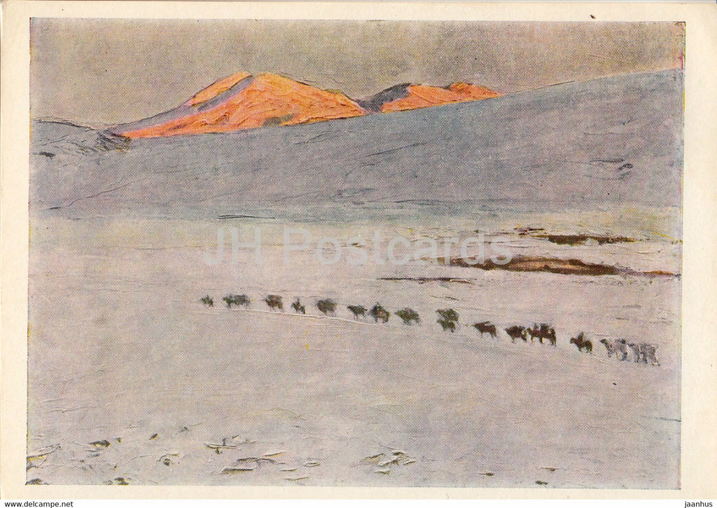 painting by A. Stroganov - Camel Caravan - Mongolian art - 1966 - Russia USSR - unused - JH Postcards
