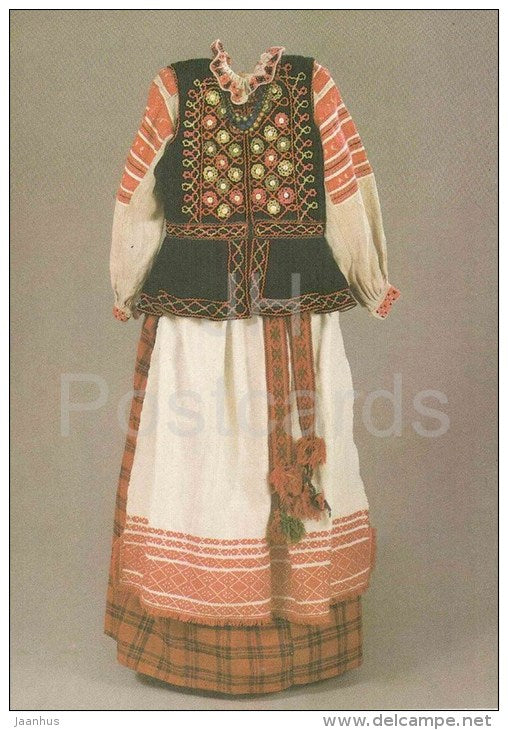 Woman´s Dress , XX century - folk costumes - 1986 - Belarus USSR - unused - JH Postcards