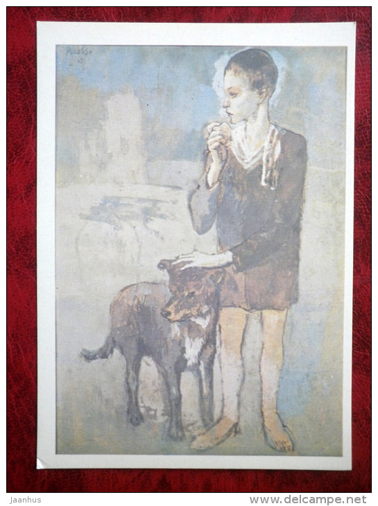 Drawing by Pablo Picasso - Boy wit a Dog . 1905 - french art - unused - JH Postcards