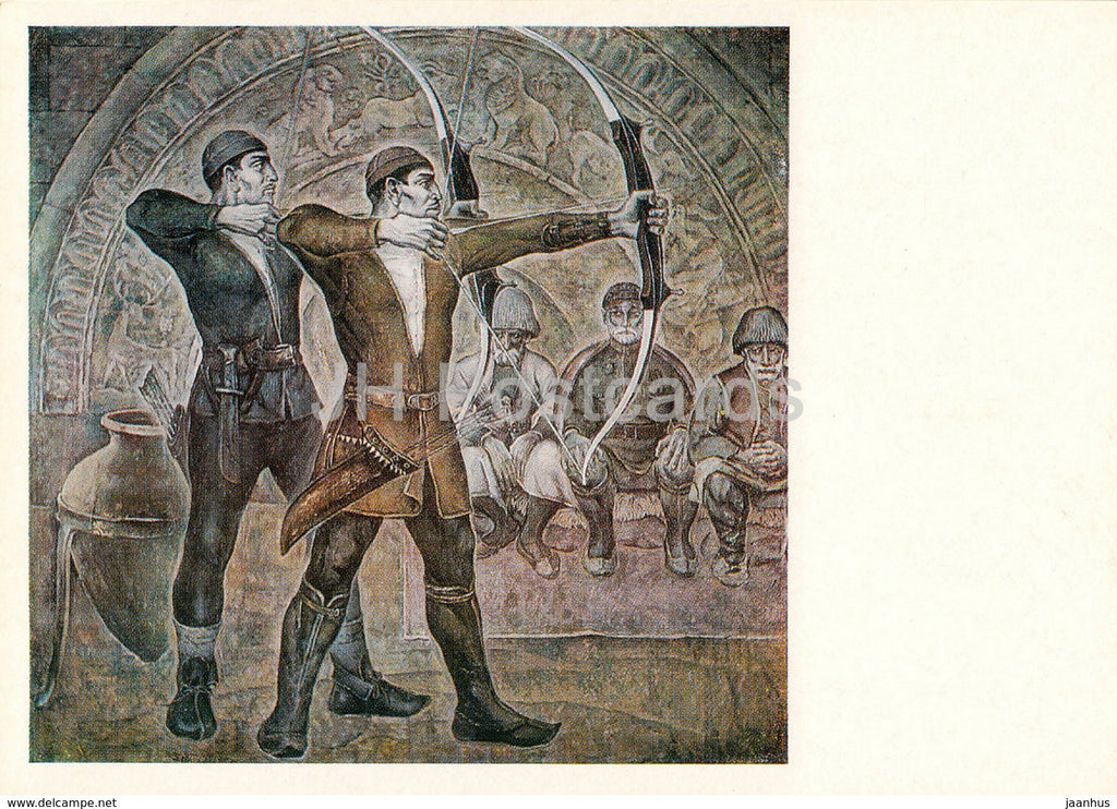 painting by A. Boldyrev - Mountaineer Archers - Sport - Soviet art - 1978 - Russia USSR - unused