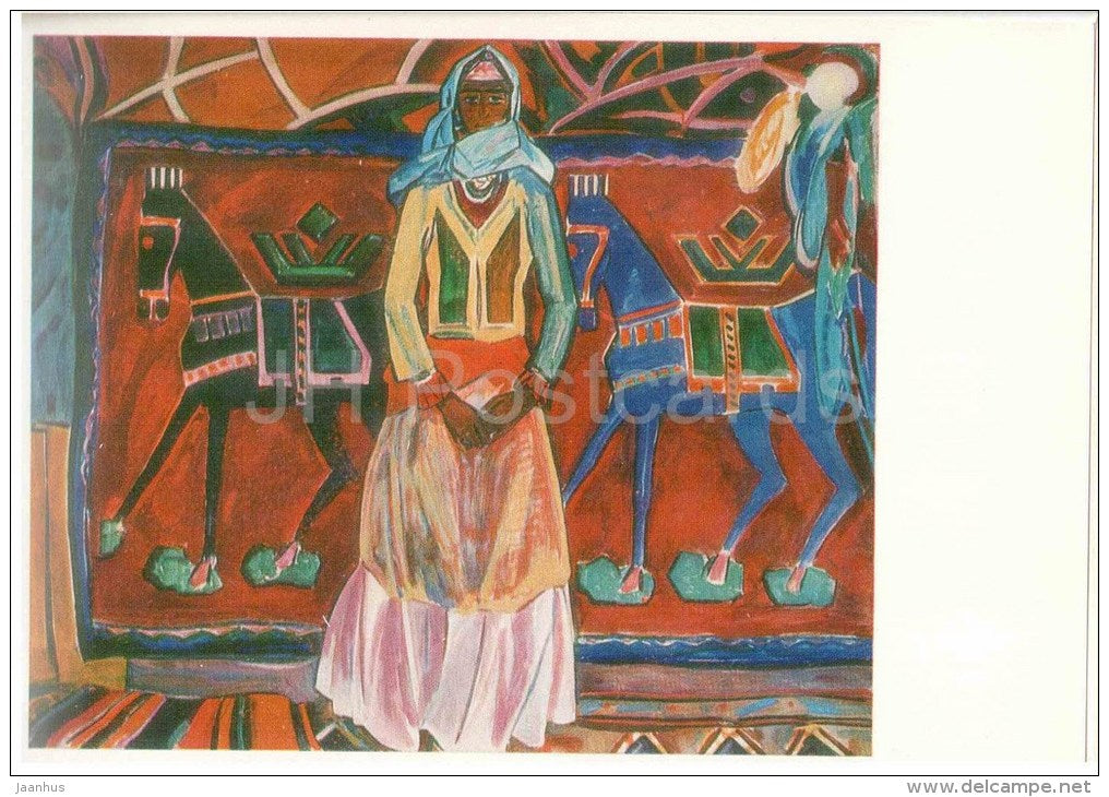 painting by Nadyr Gambar ogly Abdurakhmanov - Woman of the Mountains , 1964 - horses - azerbaijan art - unused - JH Postcards