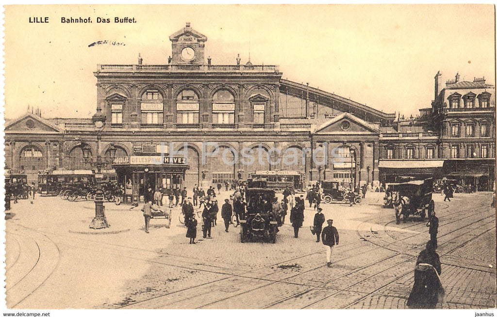 Lille - Bahnhof - Das Buffet - old cars - tram - railway station - Feldpost - old postcard - France - used - JH Postcards