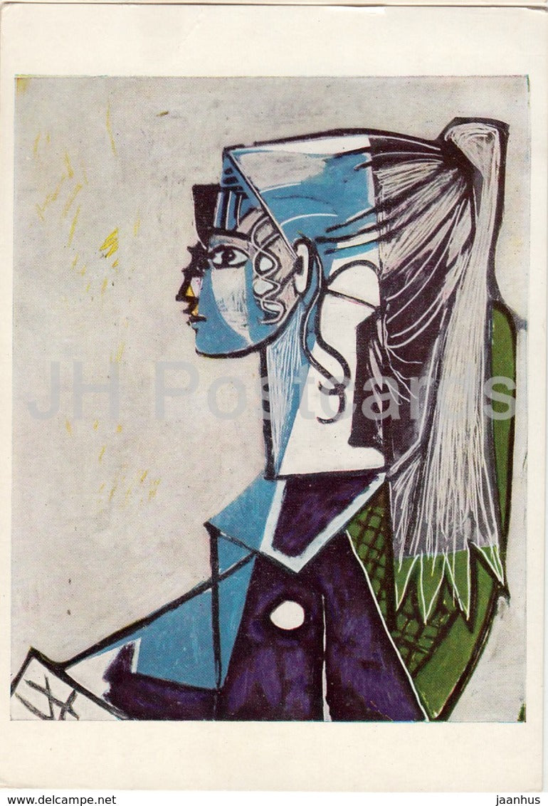 painting by Pablo Picasso - Portrait of a Young Woman - Spanish art - England - unused - JH Postcards