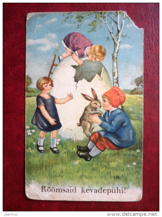 Easter Greeting Card - hare - egg - children - WO 114 - old postcard - Estonia - used - JH Postcards