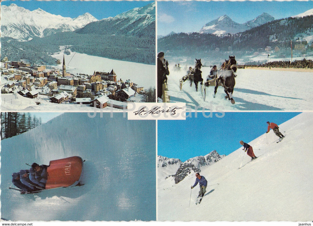 St. Moritz - horse race - bobsleigh - alpine skiing - winter sport - multiview - 38 - Switzerland - used - JH Postcards
