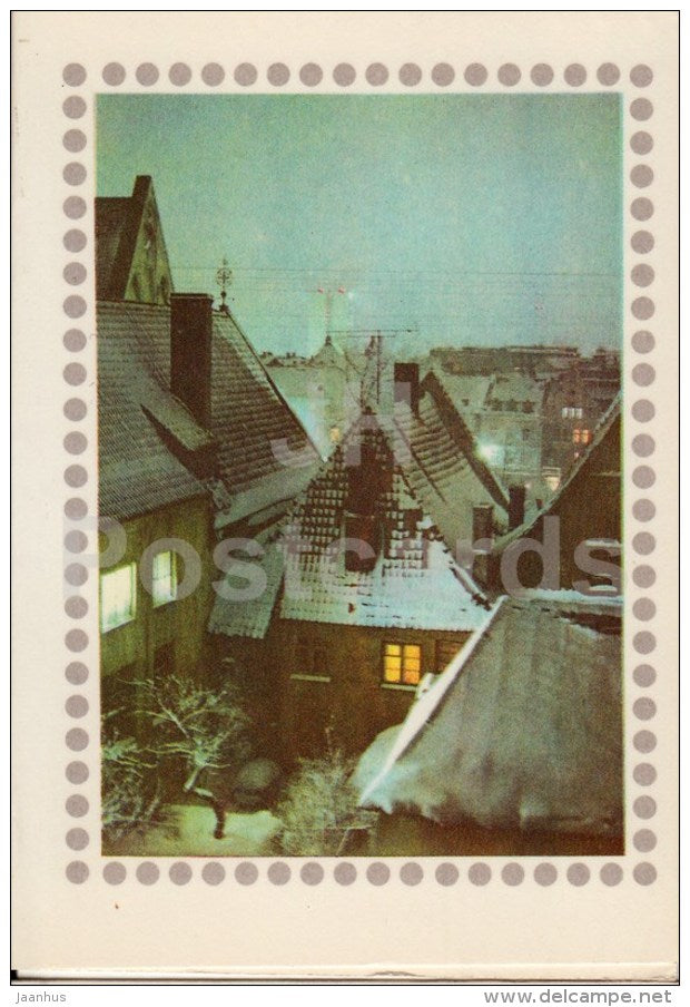 New Year Greeting card - Old Town - Tallinn - 1977 - Estonia USSR - used - JH Postcards