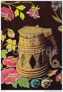 New Year Greeting card - 3 - beer mug - embroidered quilt - 1983 - Estonia USSR - used - JH Postcards