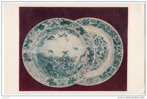 Chinese Porcelain - plates - Chinese art - old postcard - China - unused - JH Postcards
