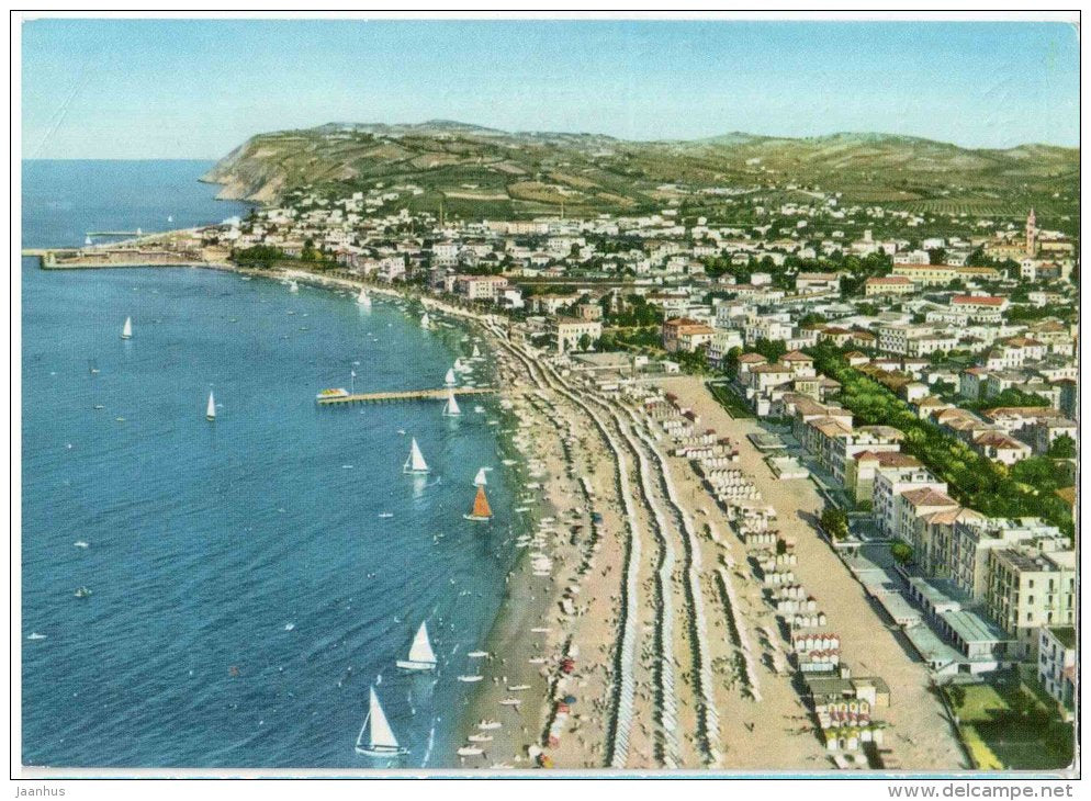 Panorama dall´aereo - beach - Cattolica - Rimini - 8012 - Italia - Italy - sent from Italy to Germany 1960 - JH Postcards