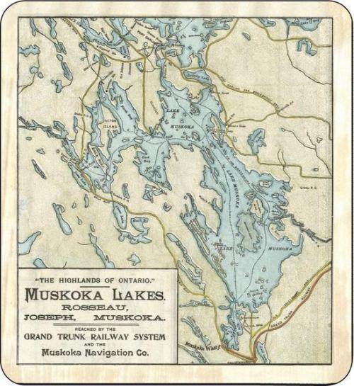 Blanket - Lake Muskoka Vintage Map Print
