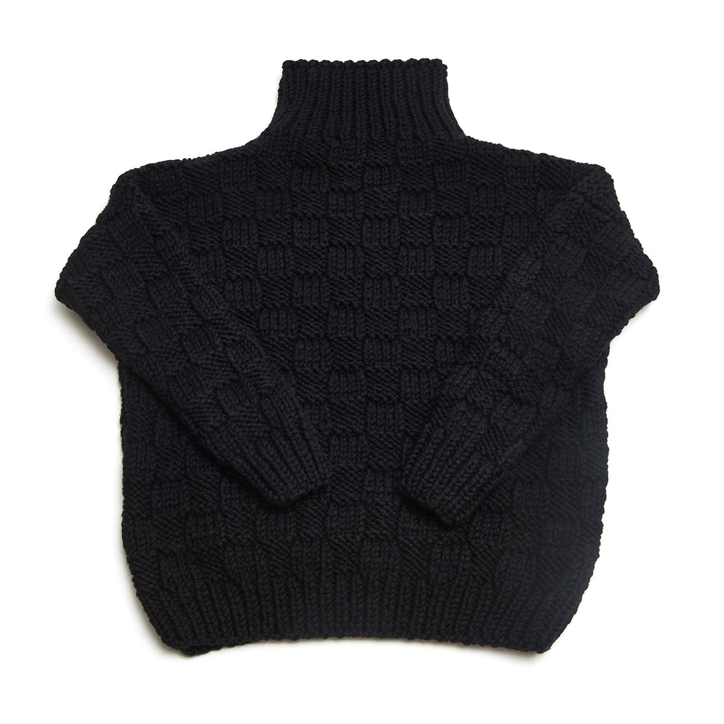 Basket Weave Turtleneck Sweater (Black)