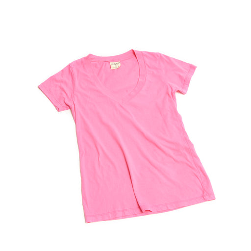 Women's CORE V Neck Cotton Tee Peony