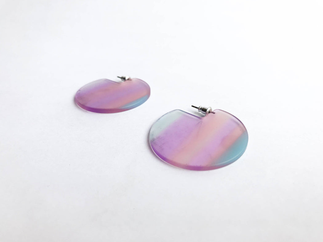 RE:FE Translucent Pink Purple Stripe Earrings