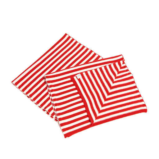 Cashmere Striped Scarf (Poppy/ Niveous)
