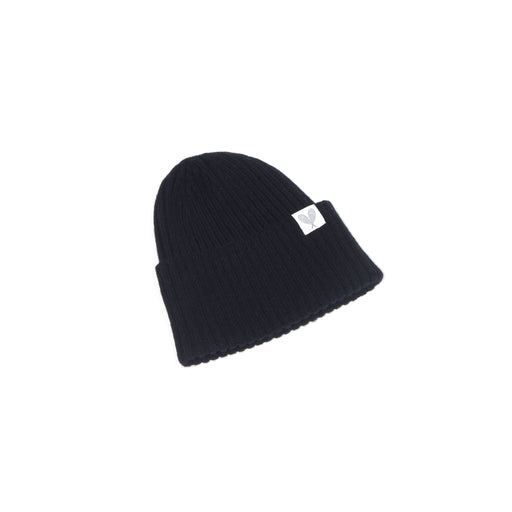 Cashmere Ribbed Slouchy Toque (Black)