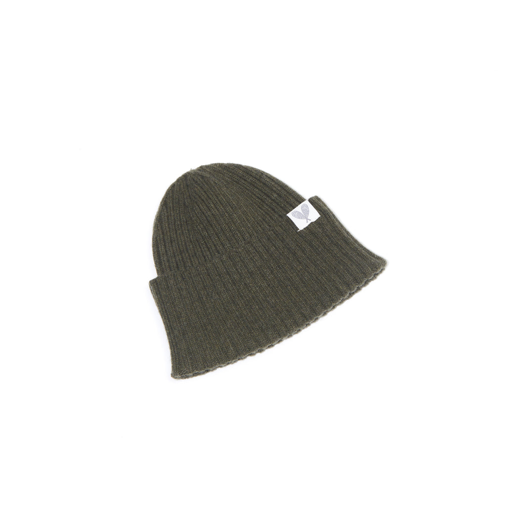 Cashmere Ribbed Slouchy Toque (Loden)