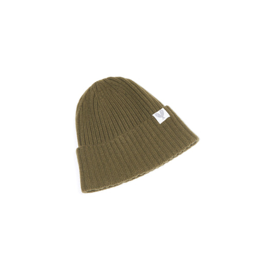 Cashmere Ribbed Slouchy Toque (Olive Dun)