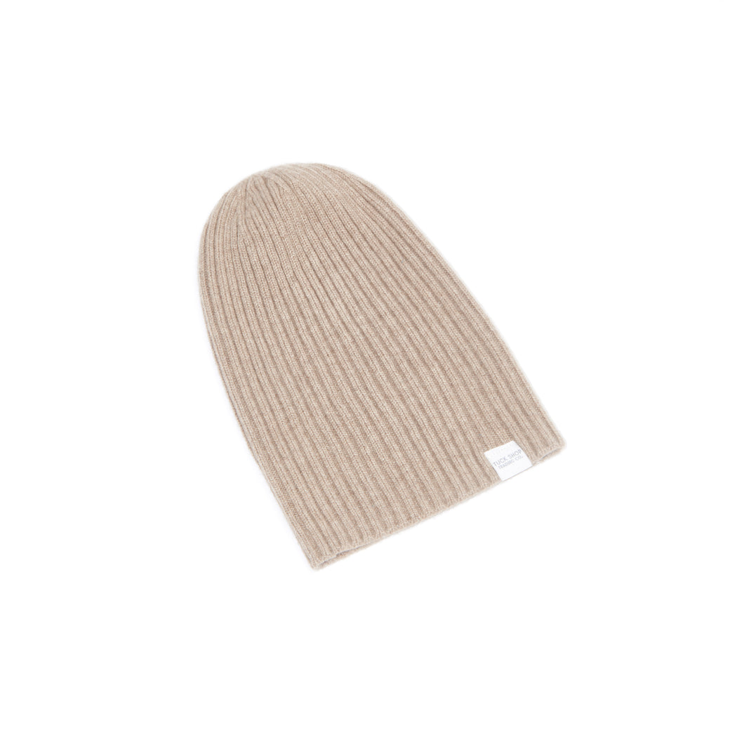 Cashmere Ribbed Slouchy Toque (Brown Undyed)