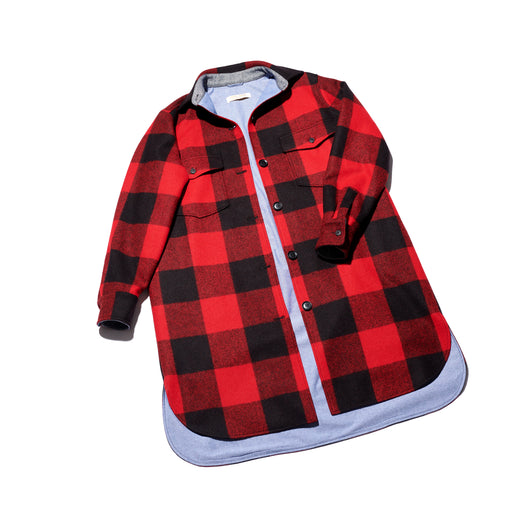 Oversized Cottage Coat (Red/Black)