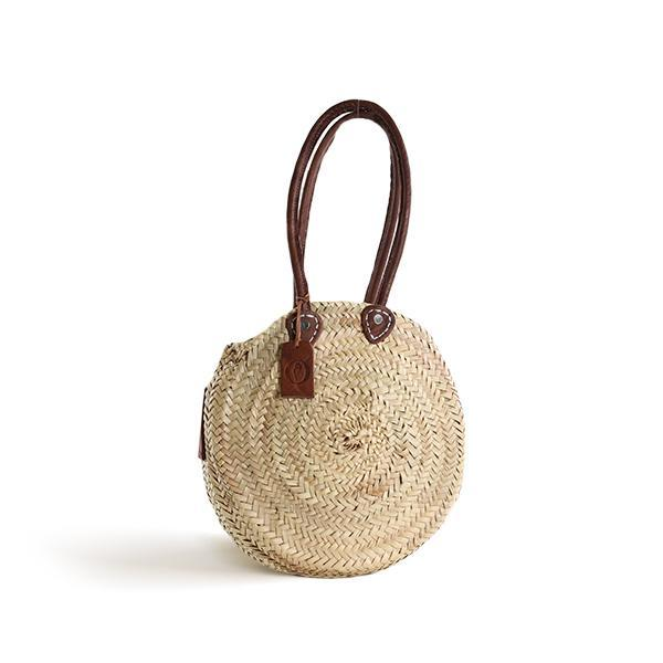 Small Round Panier with Leather Handles