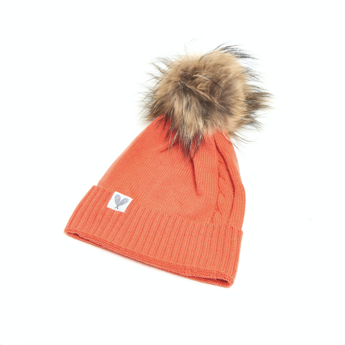 Cashmere Single Cable Toque with Pom (Boa)