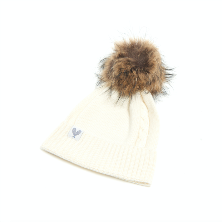 Cashmere Single Cable Toque with Pom (Niveous)