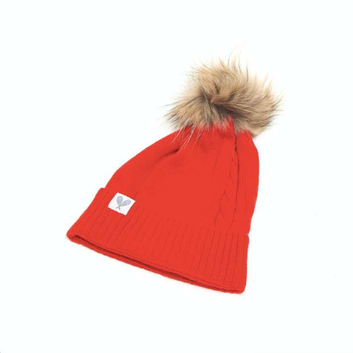 Cashmere Single Cable Toque with Pom (Poppy)