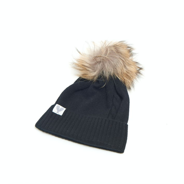 Cashmere Single Cable Toque with Pom (Black)