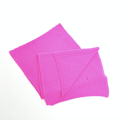 Cashmere Basket Weave Throw (Neon Pink)