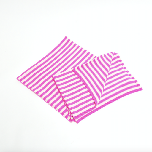 Cashmere Striped Scarf (Niveous/Neon Pink)