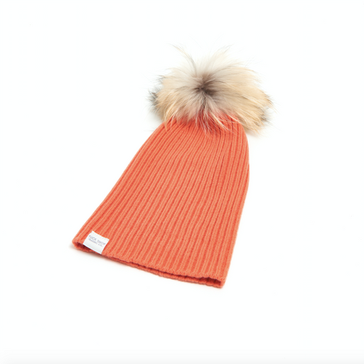 Cashmere Ribbed Slouchy Toque with Pom (Boa)