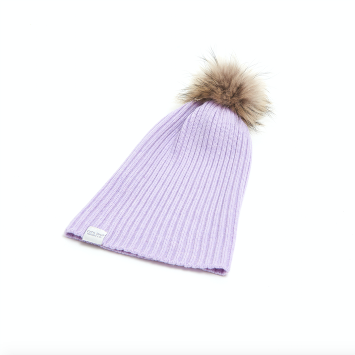 Cashmere Ribbed Slouchy Toque with Pom (Lavadula)
