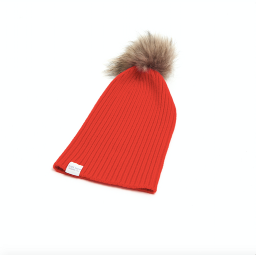 Cashmere Ribbed Slouchy Toque with Pom (Poppy)