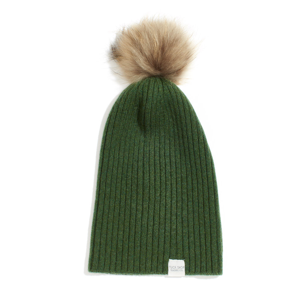 Cashmere Ribbed Slouchy Toque with Pom (Serpentine)