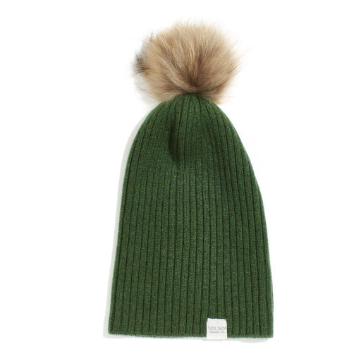 Cashmere Ribbed Slouchy Beanie with Pom - Serpentine (Green)