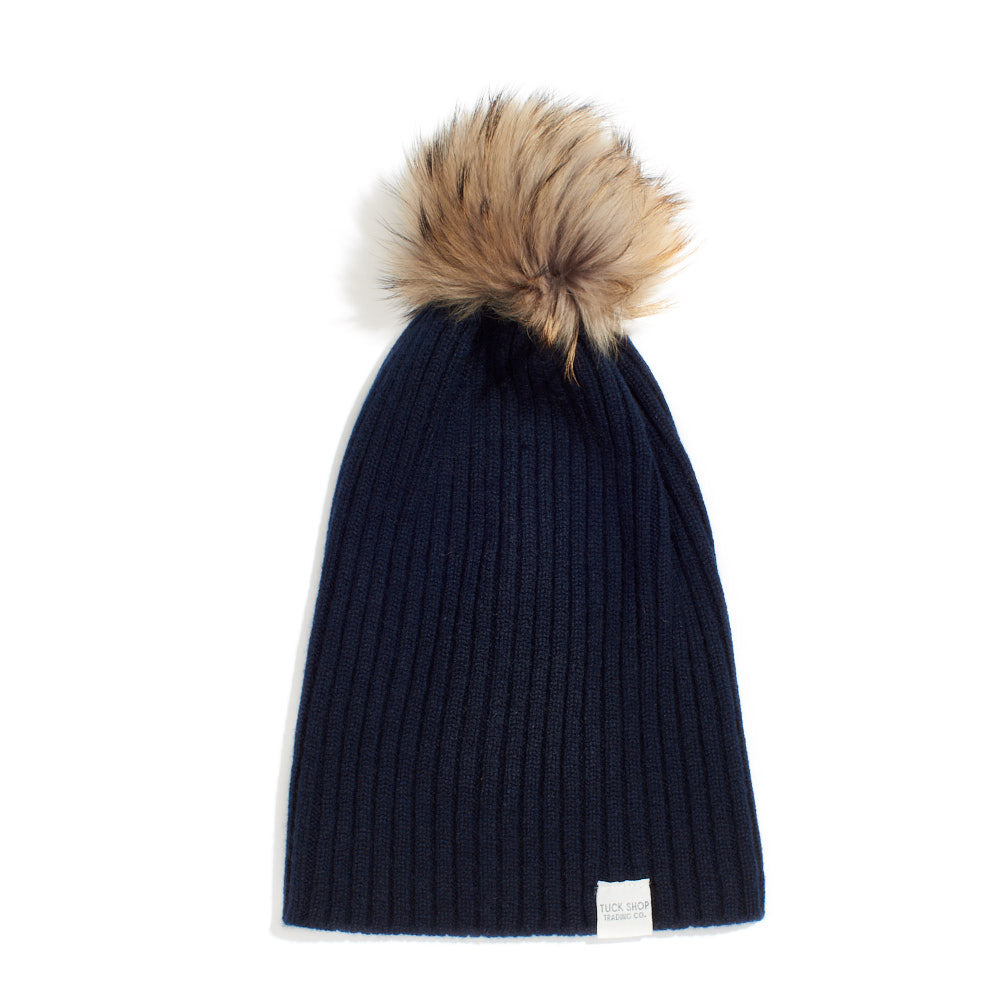 Cashmere Ribbed Slouchy Beanie with Pom - Navy