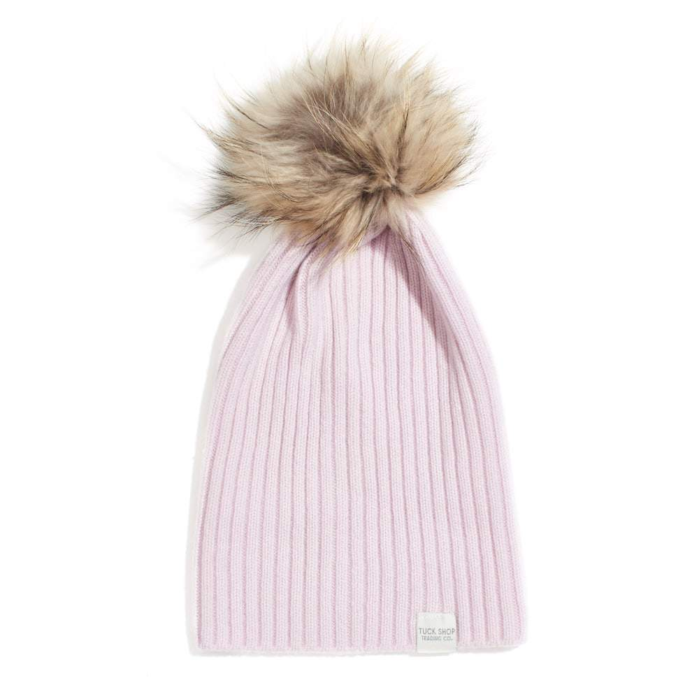 Cashmere Ribbed Slouchy Beanie with Pom - Fondant
