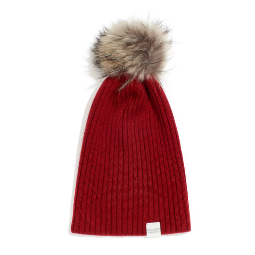 Cashmere Ribbed Slouchy Toque with Pom (Marled Red)
