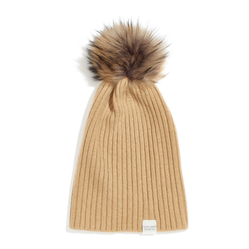 Cashmere Ribbed Slouchy Beanie with Pom - Sandstorm