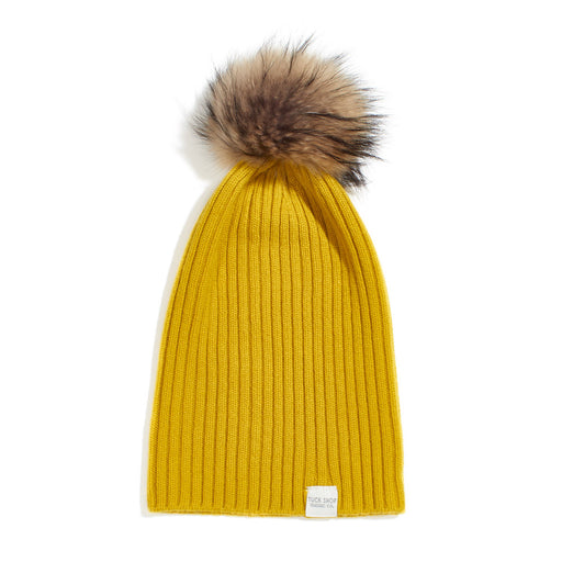 Cashmere Ribbed Slouchy Beanie with Pom - Tumeric
