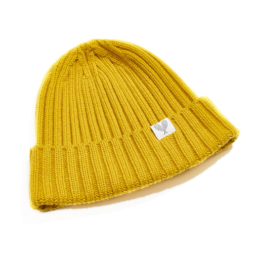 Cashmere Hand Knit Ribbed Toque (Tumeric)