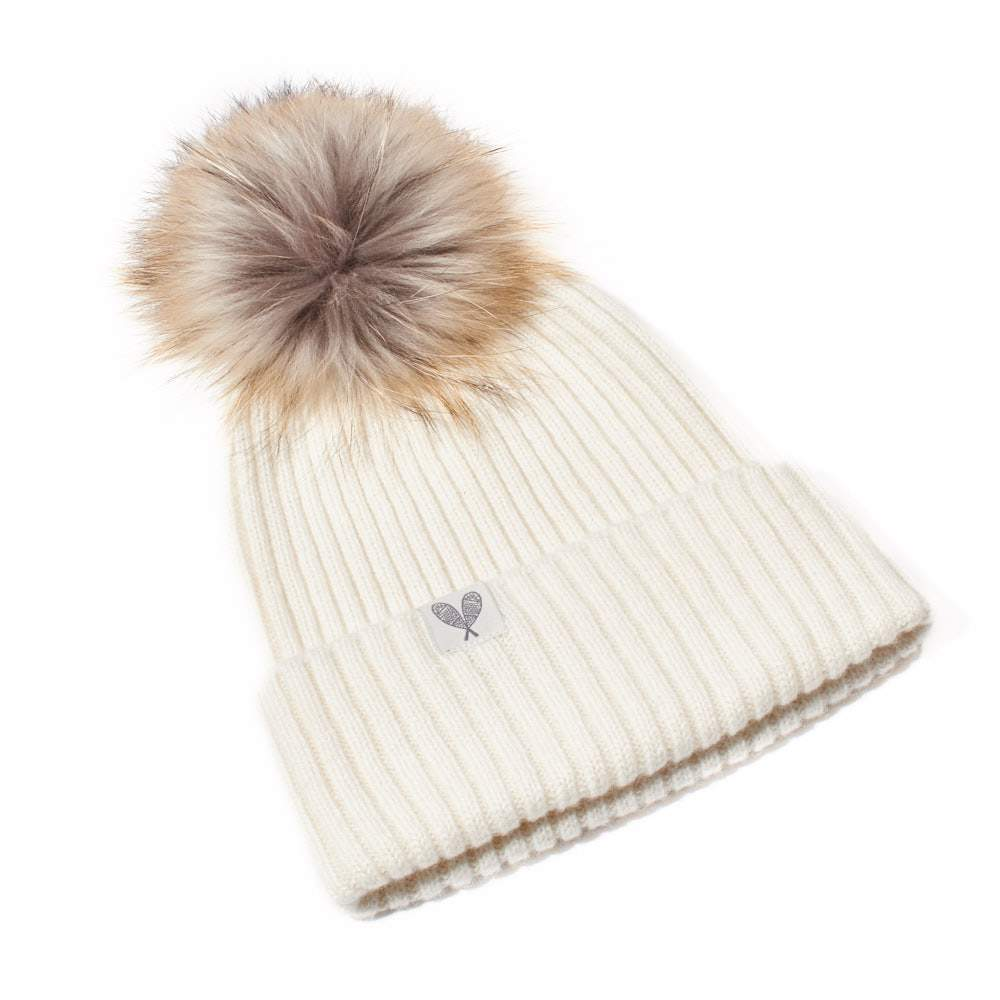 Cashmere Ribbed Slouchy Toque with Pom (Niveous)