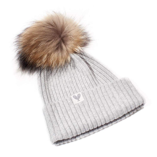 Cashmere Ribbed Slouchy Beanie with Pom