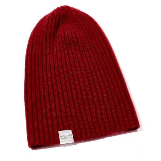 Cashmere Ribbed Slouchy Toque (Marled Red)