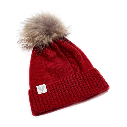 Cashmere Single Cable Toque with Pom (Marled Red)